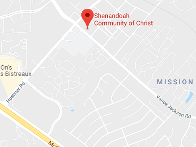Map showing the church near the intersection of Huebner Rd and Vance Jackson in San Antonio, Texas